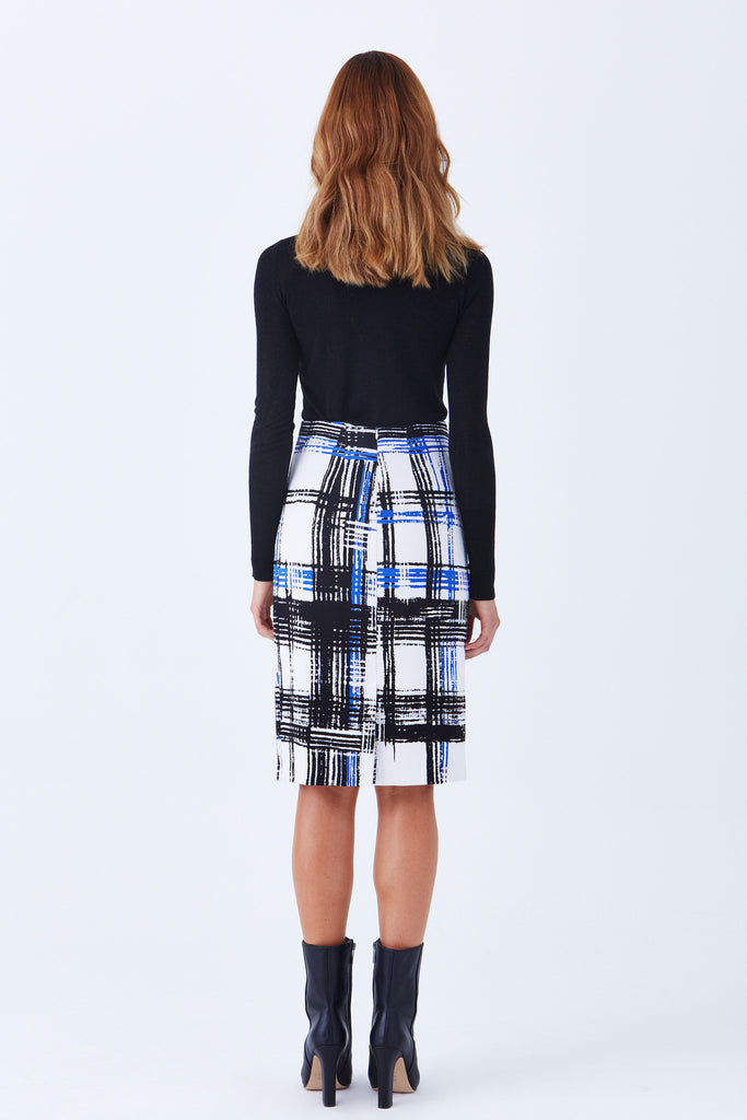 Klarety clarity Luxury plaid print high waist pencil knit skirt cobalt, black, white color- BACK