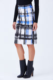 Klarety clarity Luxury plaid print high waist pencil knit skirt cobalt, black, white color- DETAIL