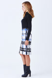 Klarety clarity Luxury plaid print high waist pencil knit skirt cobalt, black, white color- SIDE