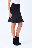 Klarety clarity Black fit and flare skirt for women's work wear, business casual, weekend clothes. DETAIL
