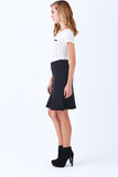 Klarety clarity Black fit and flare skirt for women's work wear, business casual, weekend clothes. side