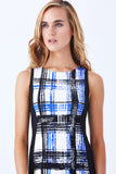 Klarety Plaid chic office day fitted sheath dress clarity
