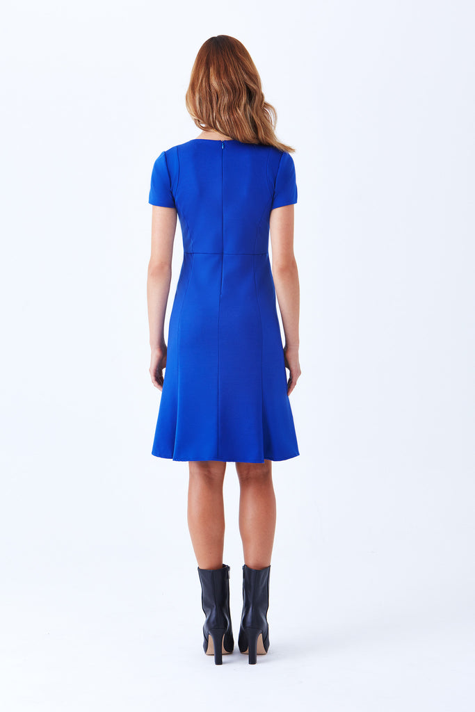 Klarety Short sleeve cobalt blue fitted tailored business casual dress clarity