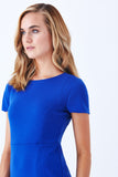 Klarety cobalt blue fit flare designer office dress clothes klarity