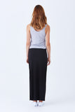 Klarety clarity Maxi skirt with side slit for weekend wear, casual outfit for women. BACK