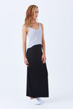 Klarety clarity Maxi skirt with side slit for weekend wear, casual outfit for women. DETAIL