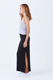 Klarety clarity Maxi skirt with side slit for weekend wear, casual outfit for women. SIDE