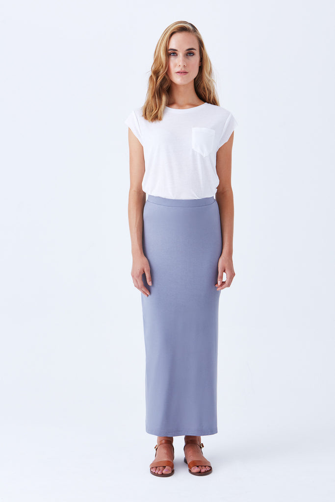 OVERLAND MAXI SKIRT WITH SIDE SLIT - Cobalt blue fit & flare skirt
