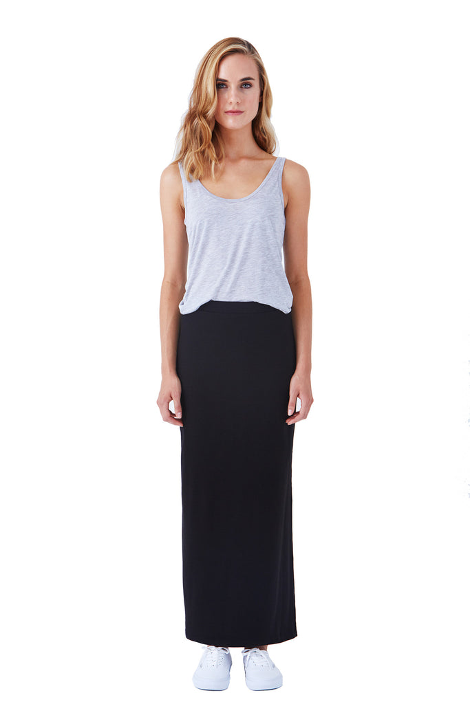 Klarety clarity Maxi skirt with side slit for weekend wear, casual outfit for women. FRONT