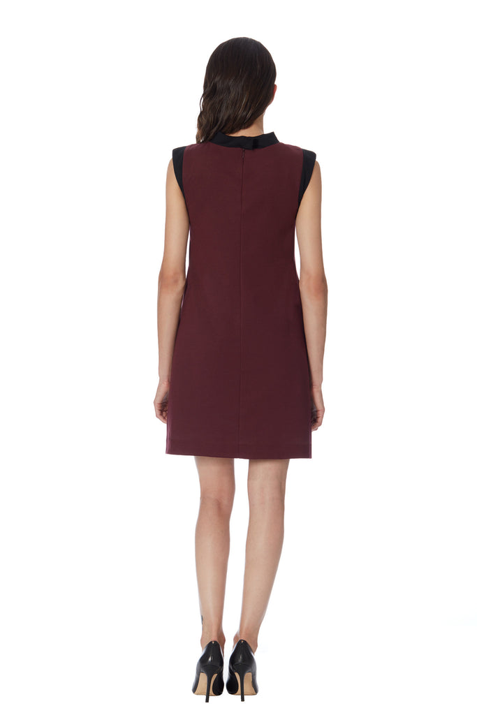 Klarety Ponte stretch knit Burgundy day work Dress chic sophisticated designer dress clarity