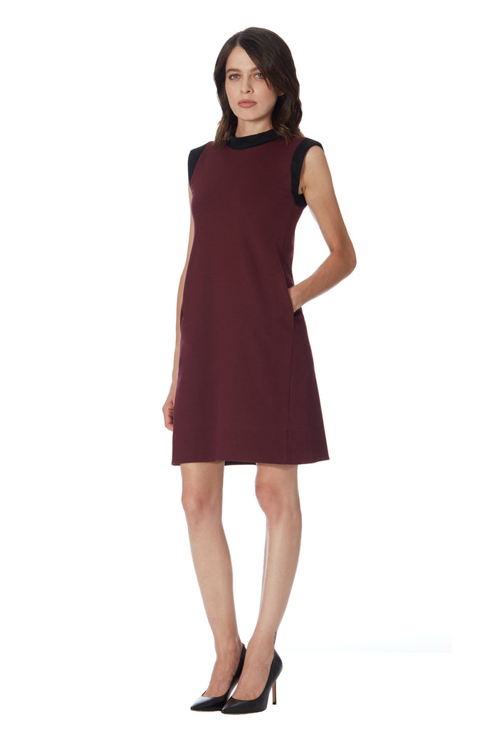 Klarety Burgundy Maroon Mock Neck Mod Dress with Pockets women workwear office clothing klarity