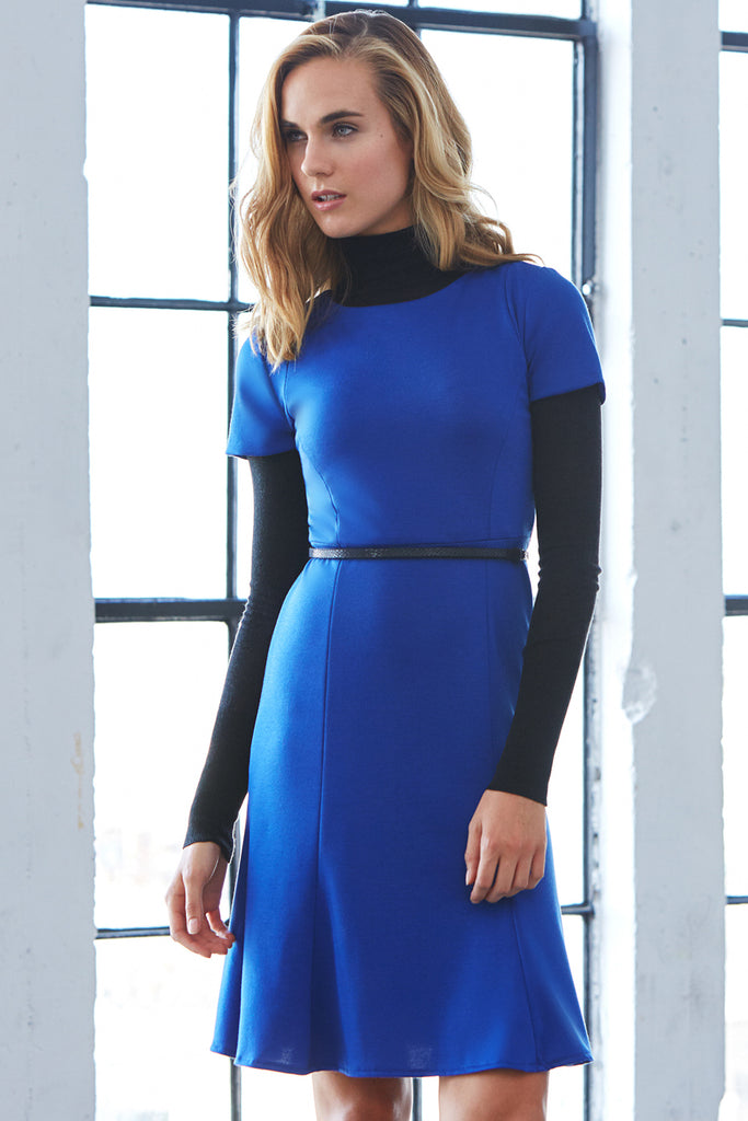 Fit Flare Dress Cobalt Blue Black Turtle Neck Long Sleeve Black Belt Styling