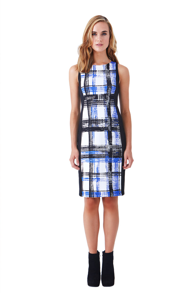 Klarety clarity Plaid sleeveless sheath dress women workwear business casual