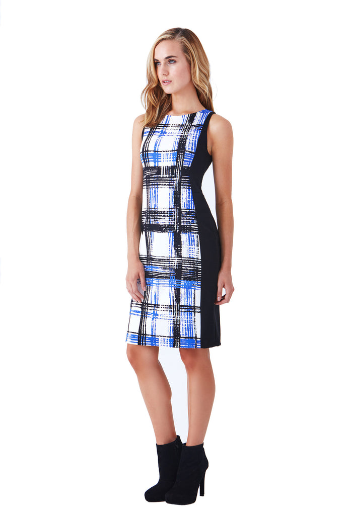 SOFIG SLEEVELESS PLAID SHEATH PONTE DRESS - Klarety