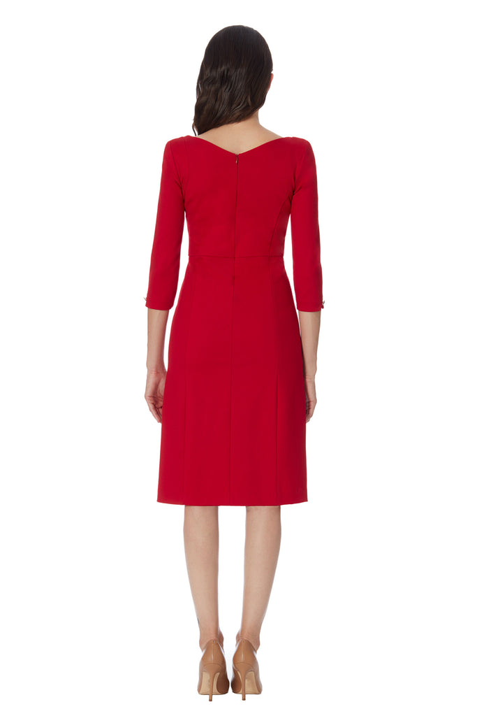 klarety red dress with sleeve, designer dress working women. klarity clarity