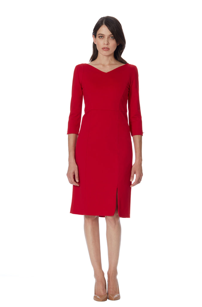 Shop klarety red day dress sleeves V neck shoulder pad midi with slit women office chic fitted business dress