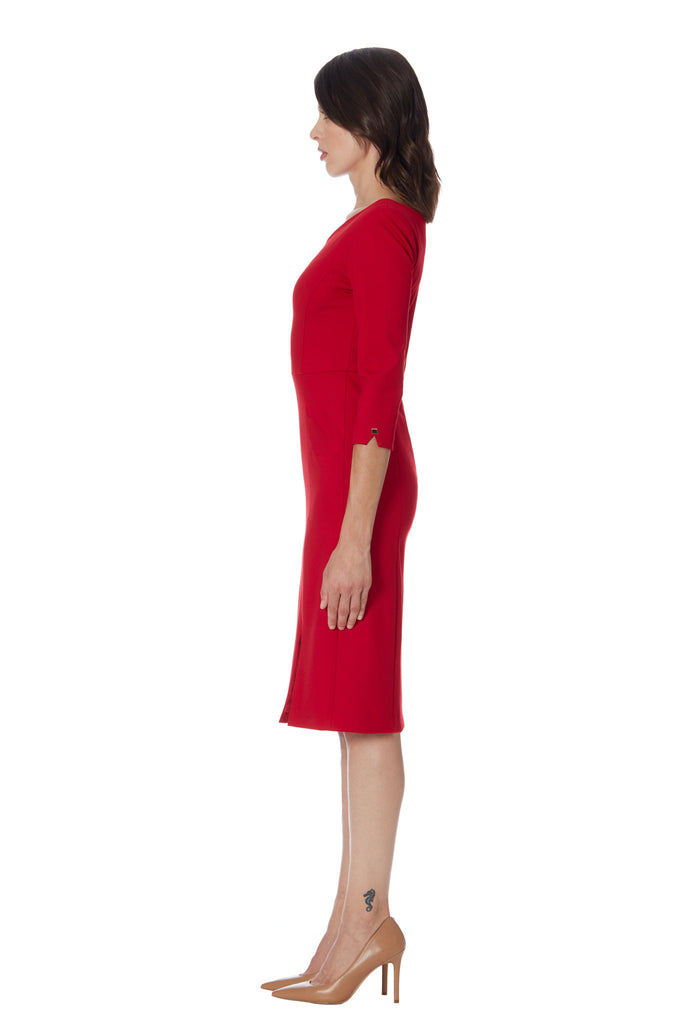 klarety luxury ponte stretch knit red dress front slit klarity clarity