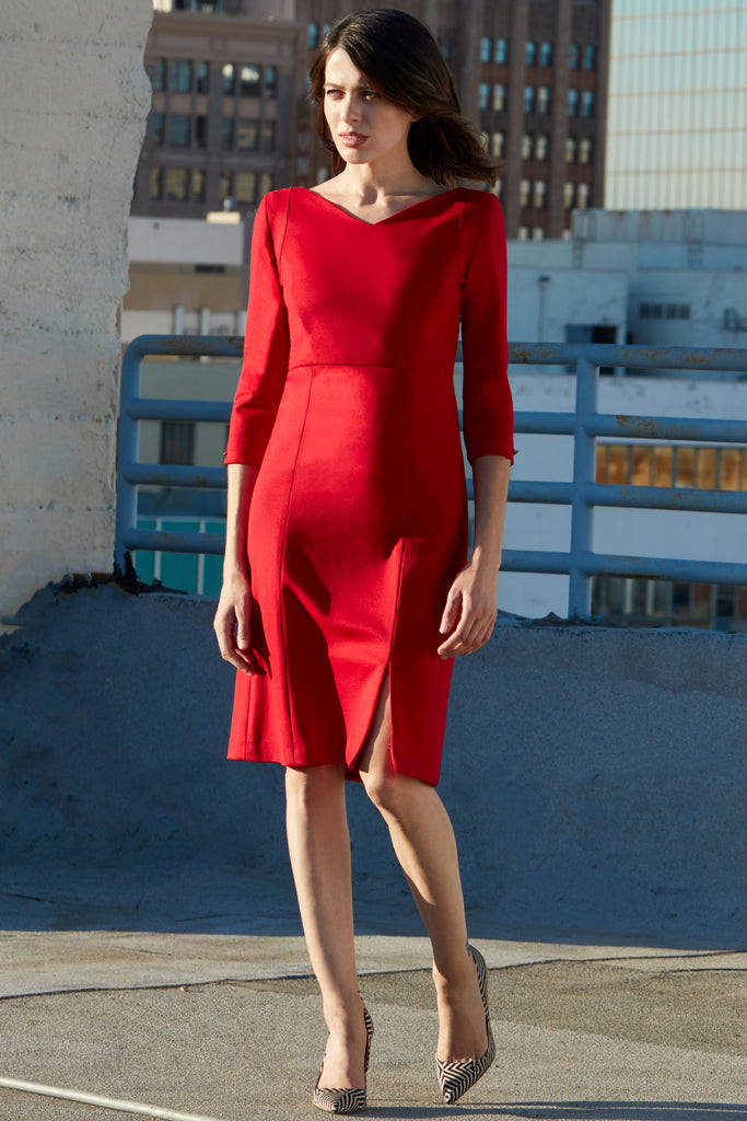 BRISTOL 3/4 SLEEVE V-NECK MIDI RED DRESS W/ SLIT - Klarety
