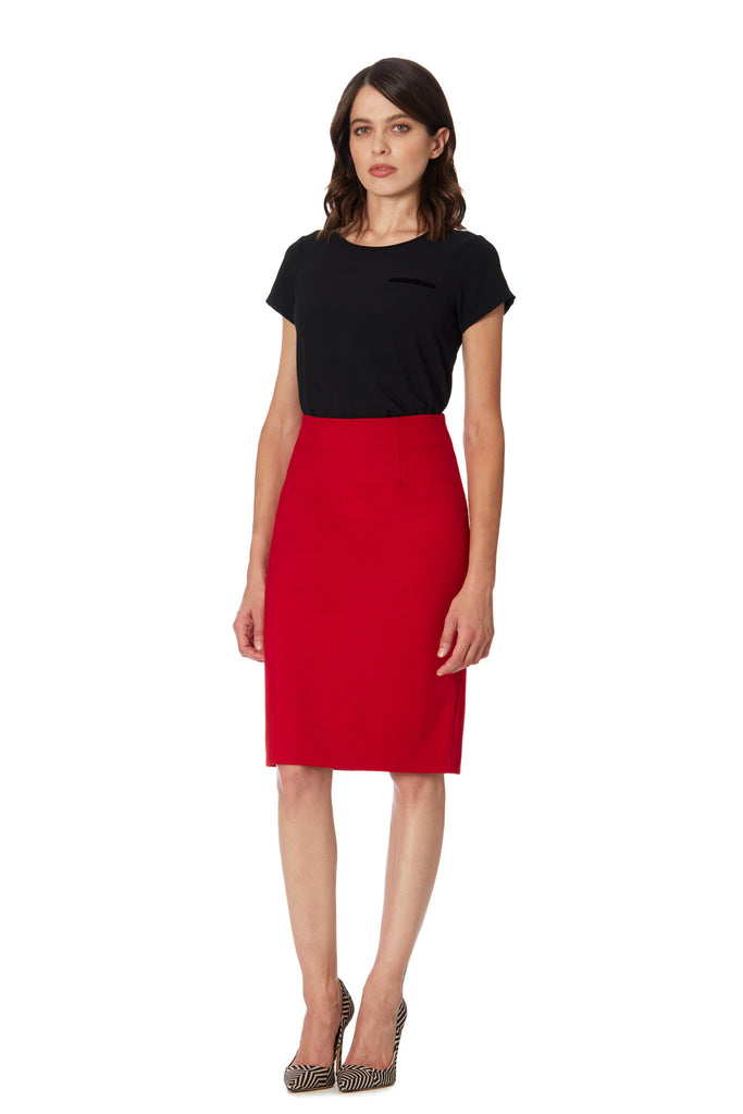Klarety clarity Red high waist pencil skirt with back slit women's workwear, business casual, and weekend clothes. FRONT