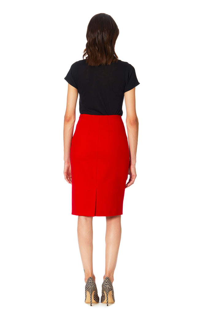 Klarety clarity Red high waist pencil skirt with back slit women's workwear, business casual, and weekend clothes. BACK