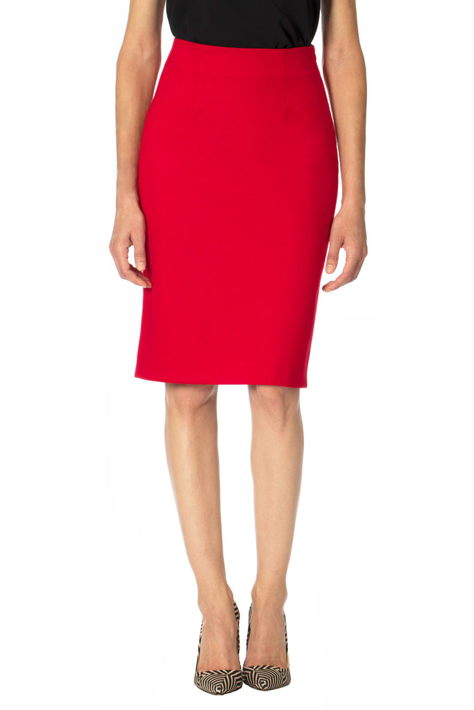 Klarety clarity Red high waist pencil skirt with back slit women's workwear, business casual, and weekend clothes. DETAIL