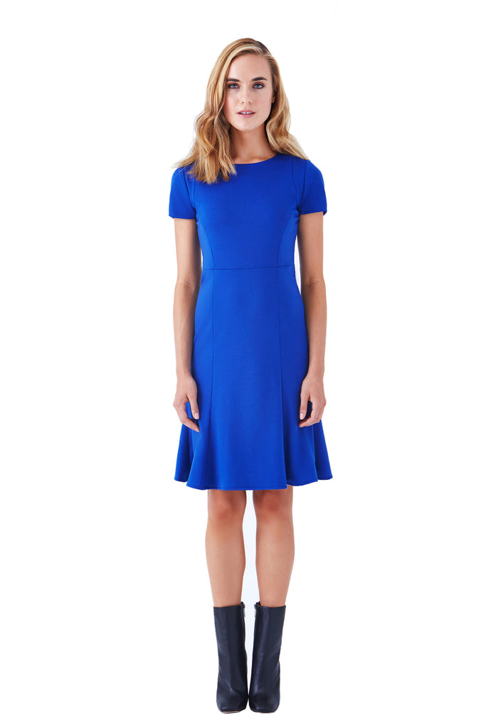 PASEO SHORT SLEEVE FIT AND FLARE PONTE DRESS - Klarety
