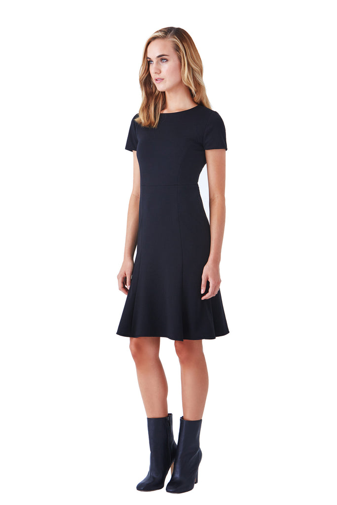 Klarety black fitted chic sophisticated work dress business casual klarity