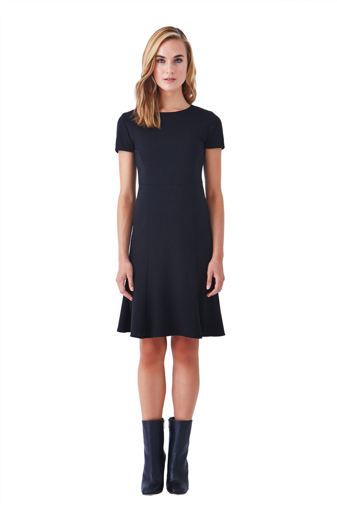 Klarety clarity Short sleeve black fit flare stretch knit business dress working woman