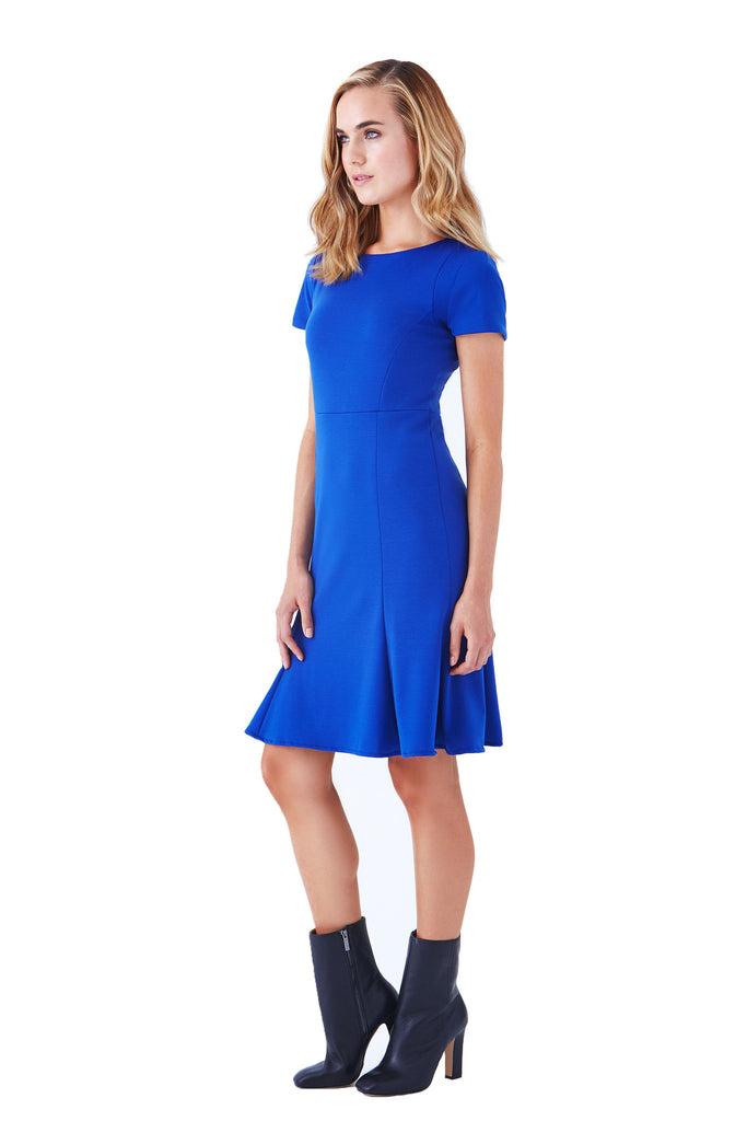 Klarety Short sleeve cobalt blue fit flare stretch ponte knit day work dress clothes klarity