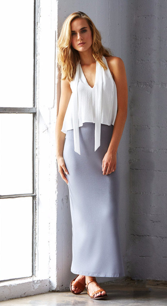 grey gray maxi skirt with side slit elastic waistband