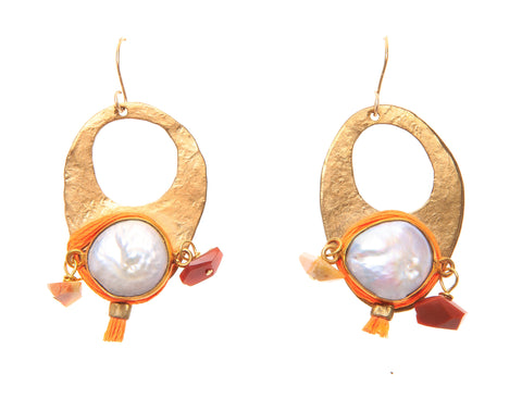 Pearl and Mexican Opal Earrings