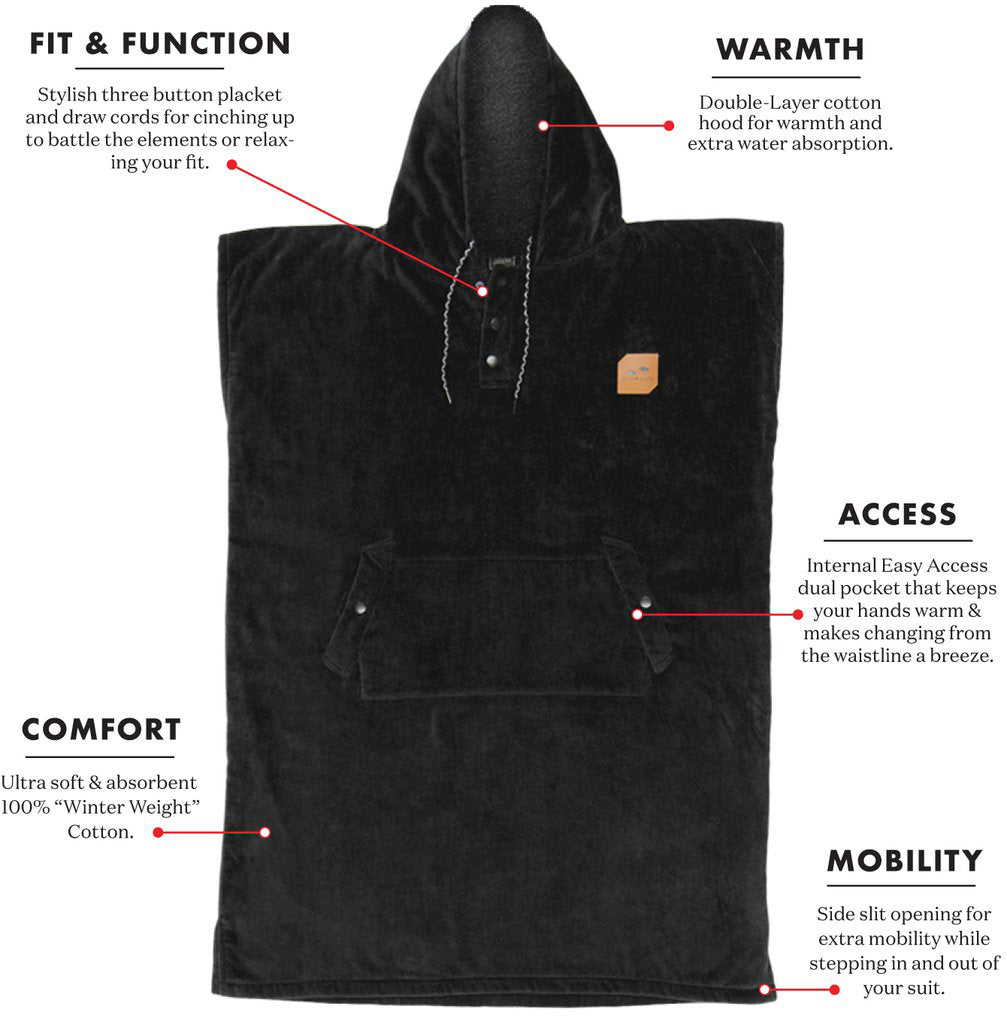 The Digs Changing Poncho - Black - XXL - Slowtide