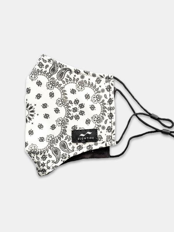 Adjustable Face Mask - Paisley Park White - Slowtide