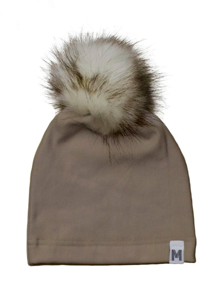 Tan Fur Pom Toque