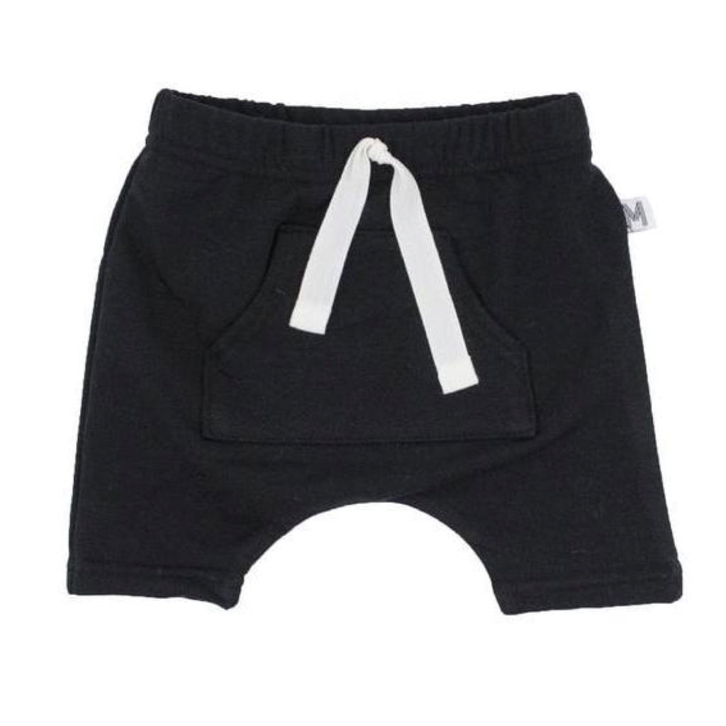 Black Front Pocket Harem Shorts