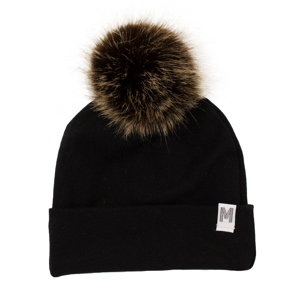 Black Flip Rim Toque - Dark Pom