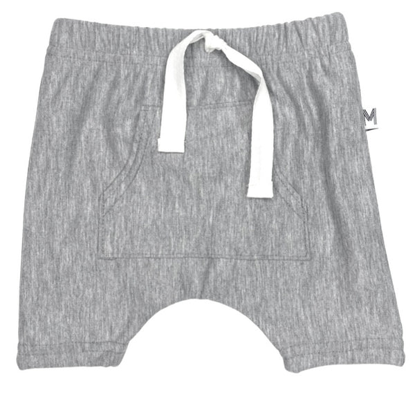 Grey Front Pocket Harem Shorts