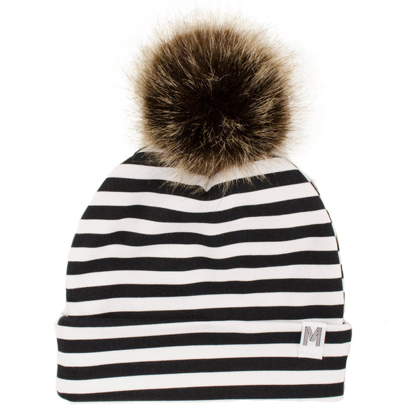 Stripe Flip Rim Toque - Dark Pom