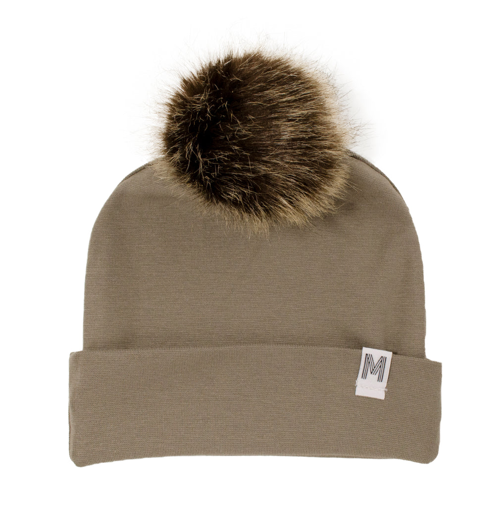 Tan Flip Rim Toque- Dark Pom