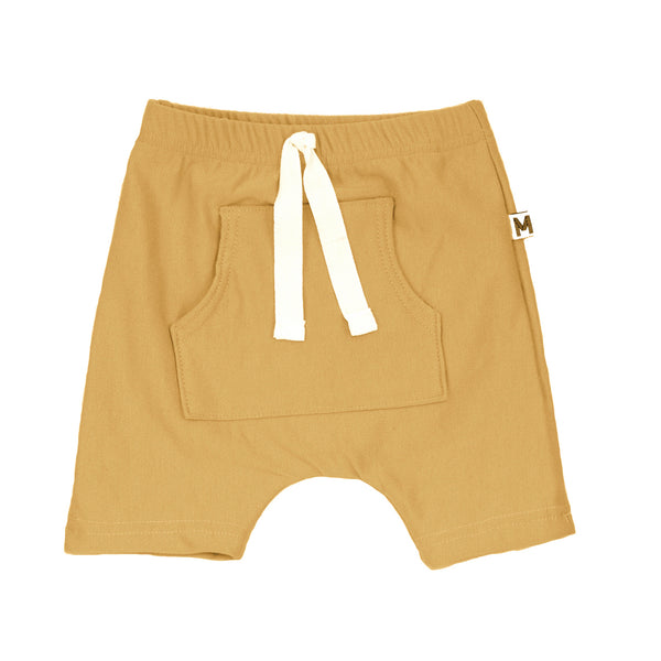 Yellow Front Pocket Harem Shorts