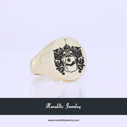 Custom gold crest ring
