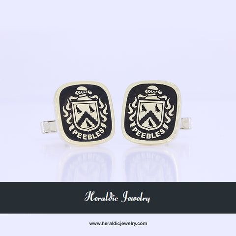 Peebles family crest cufflinks