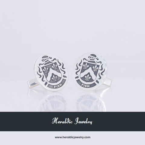 Fish family crest cufflinks