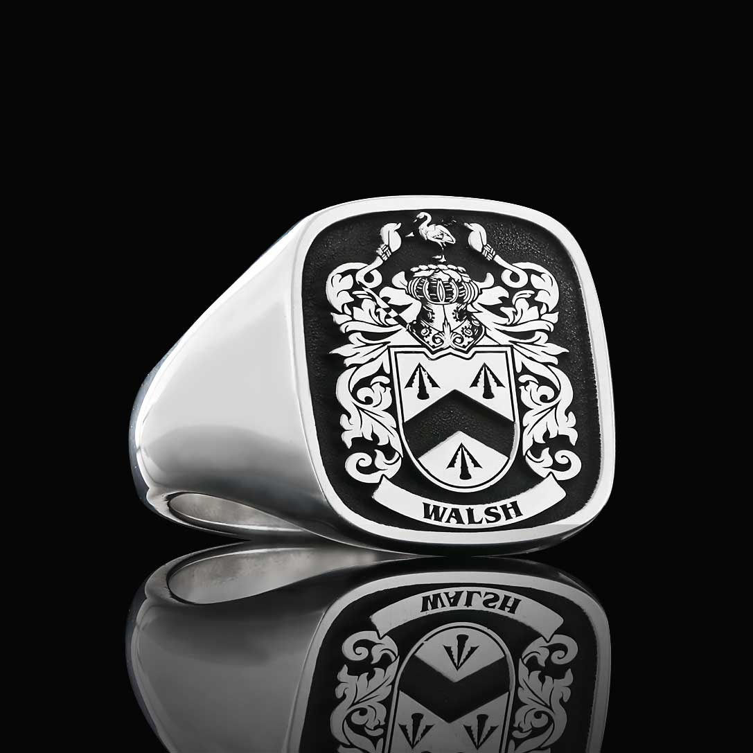 Walsh coat of arms ring