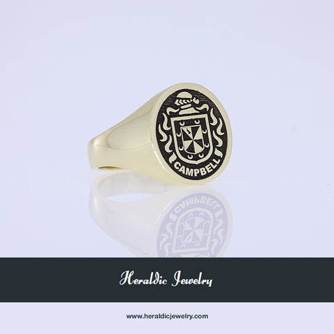 Campbell gold coat of arms ring