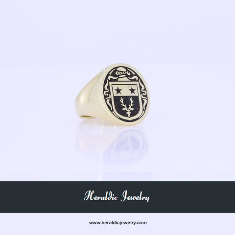 Custom gold coat of arms ring