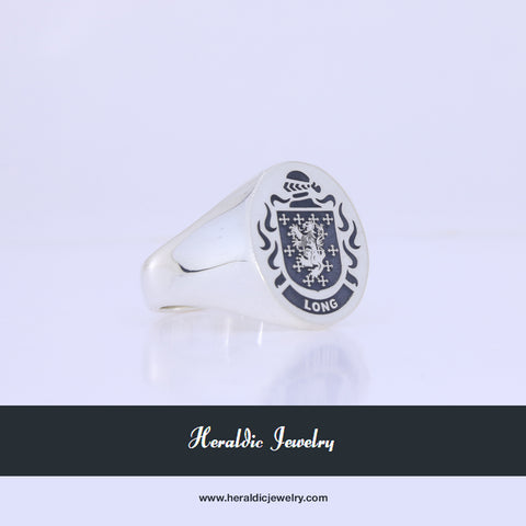 Long family crest ring