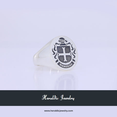 Manseau family crest ring
