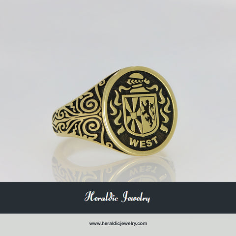 West gold family crest ring