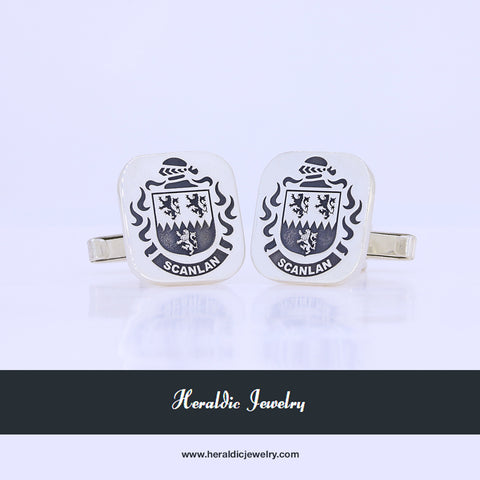 Scanlan family crest cufflinks